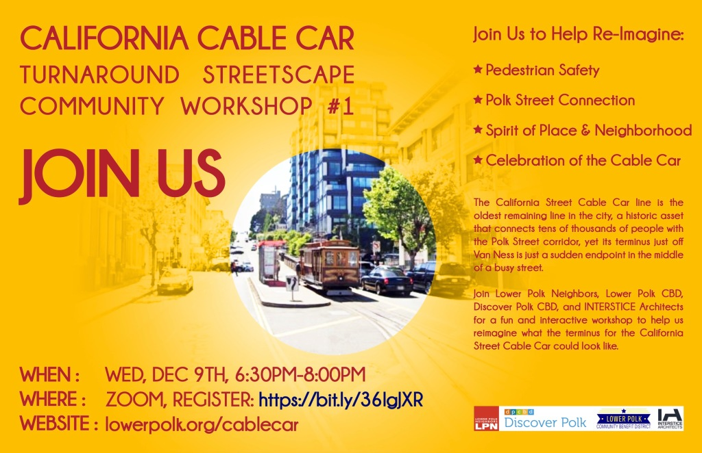Flyer for the California Cable Car Turnaround Community workshop.
