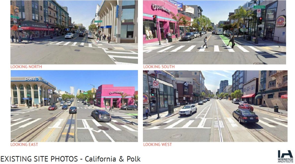 Four images that look from the Cable Car Stop in the directions of North, South, East, and West